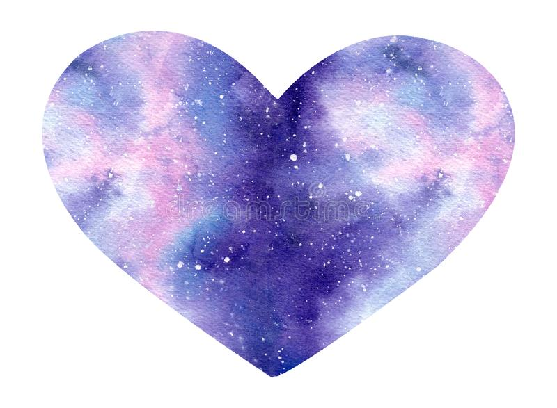 Hand painted watercolor space illustration in shape of a heart . royalty free illustration