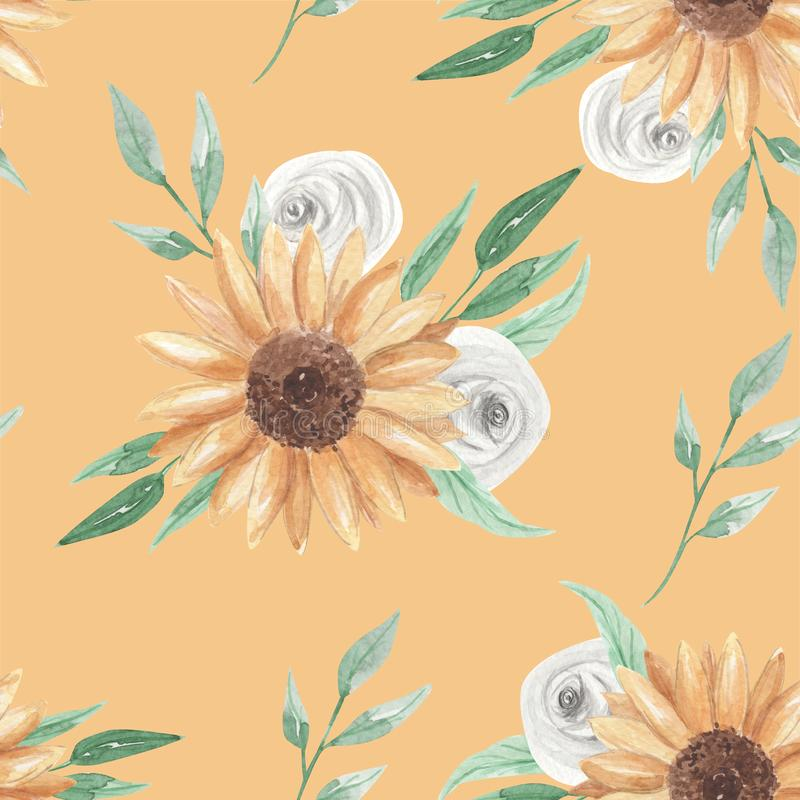 Download Sunflowers Watercolor Seamless Pattern Flowers White Roses Stock Illustration