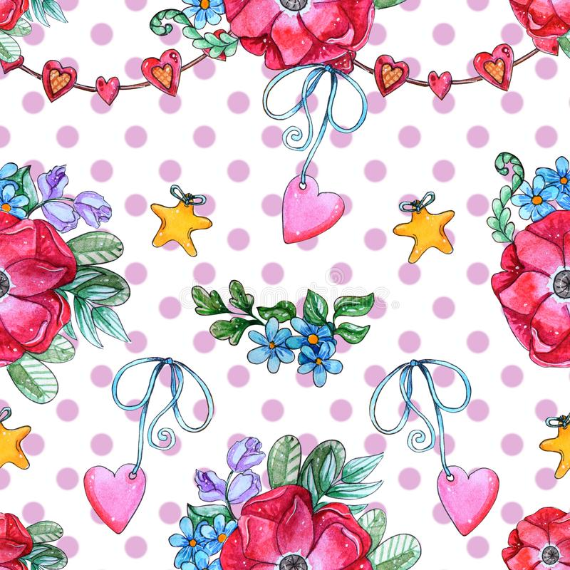 Hand painted Watercolor Sweet seamless pattern. Watercolor Sweet seamless pattern.  Cute poppy flowers, heart and garland. Perfect for card, decor and invitation vector illustration