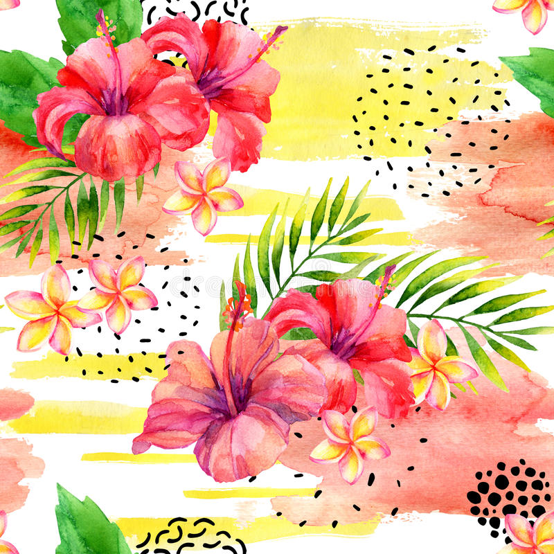 Hand painted watercolor tropical leaves and flowers on dry rough brush stroke background. Water color floral elements, splash, ink doodle shapes seamless stock illustration