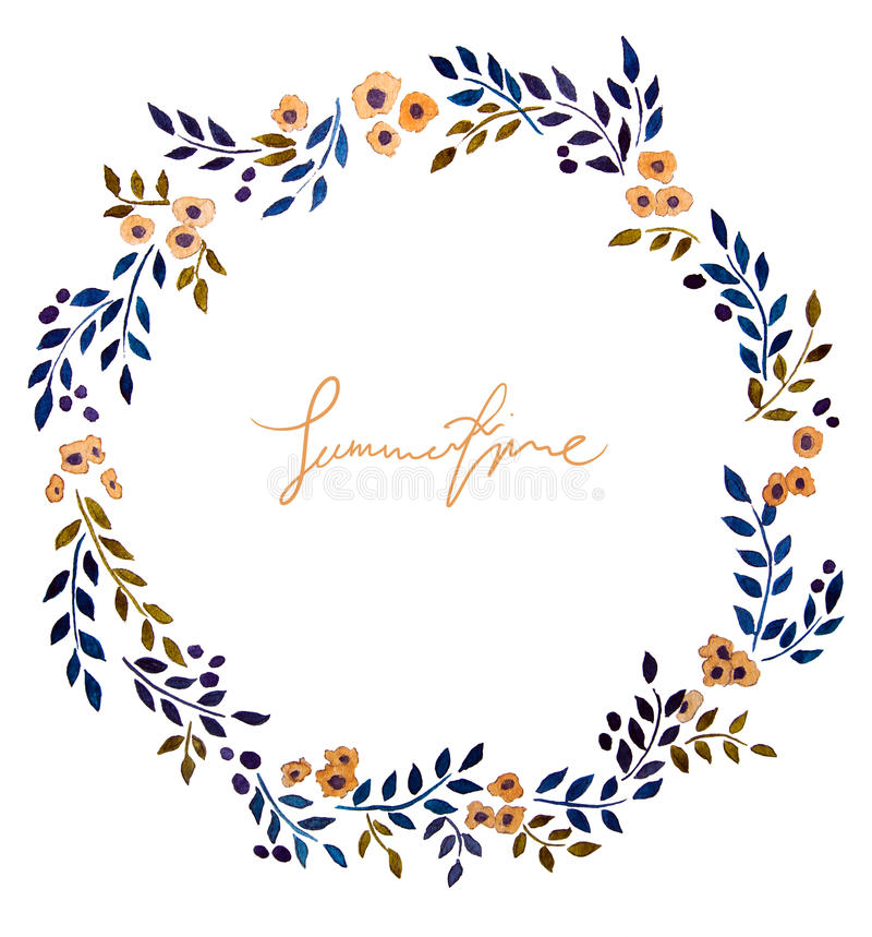 Hand painted watercolor wreath. stock illustration