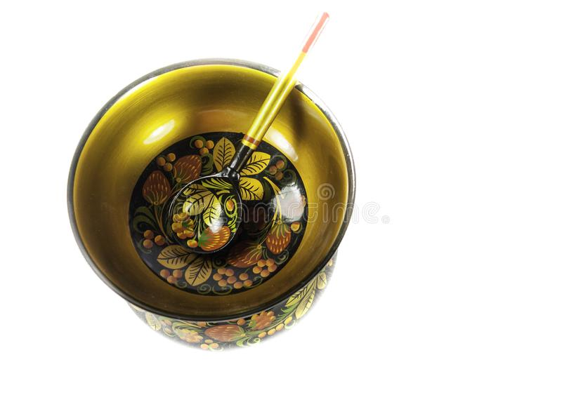 Hand Painted Wooden, Khokhloma Bowl and Spoon, Russian Folk Art stock photo