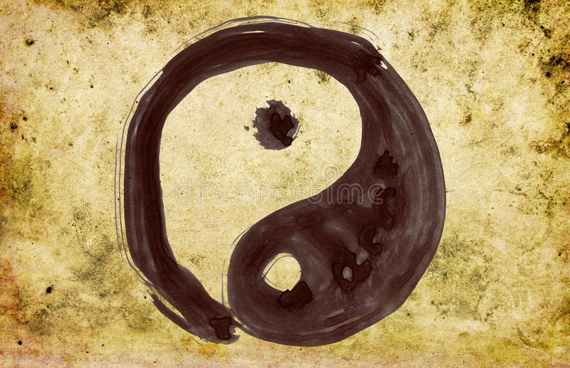 Hand painted yin and yang symbol stock illustration