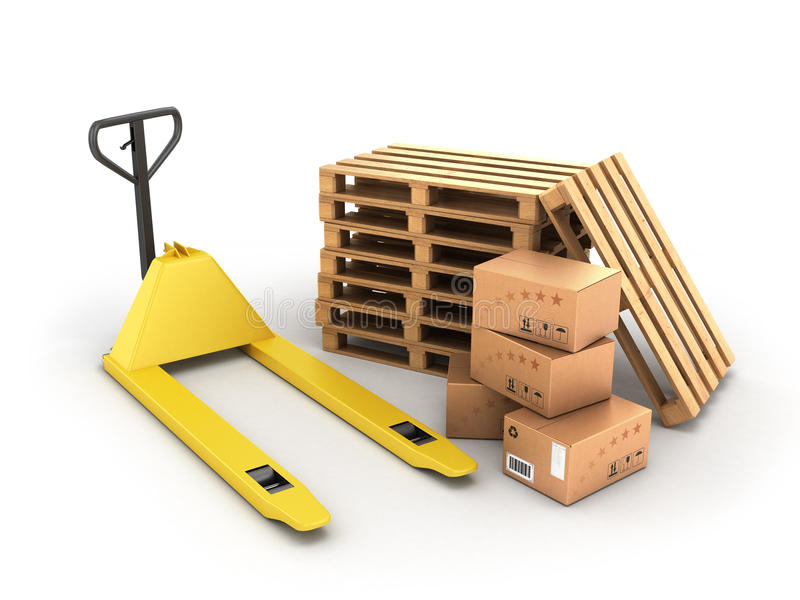 Hand pallet truck with boxes and pallets lying near vector illustration