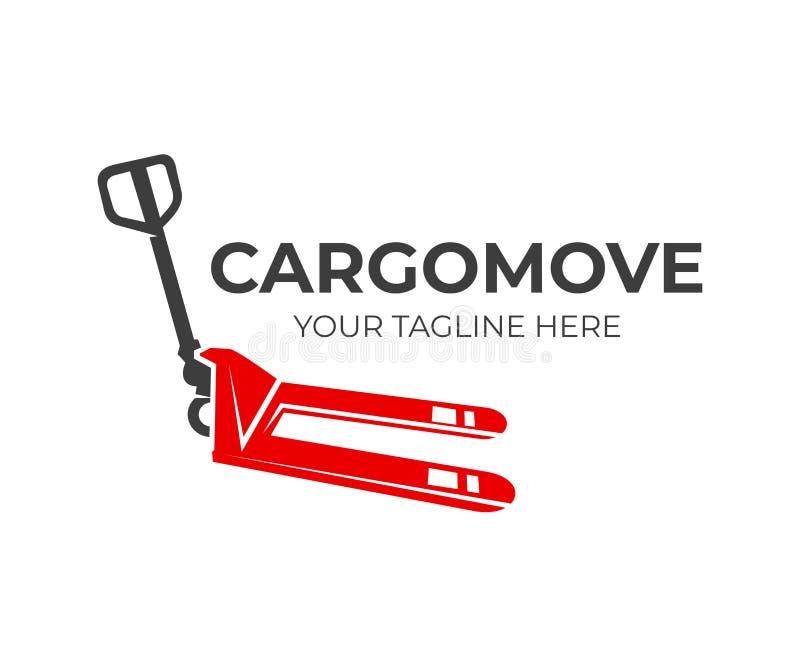 Hand pallet truck for cargo move, logo design. Delivery service, hand forklift or manual forklift, vector design stock illustration