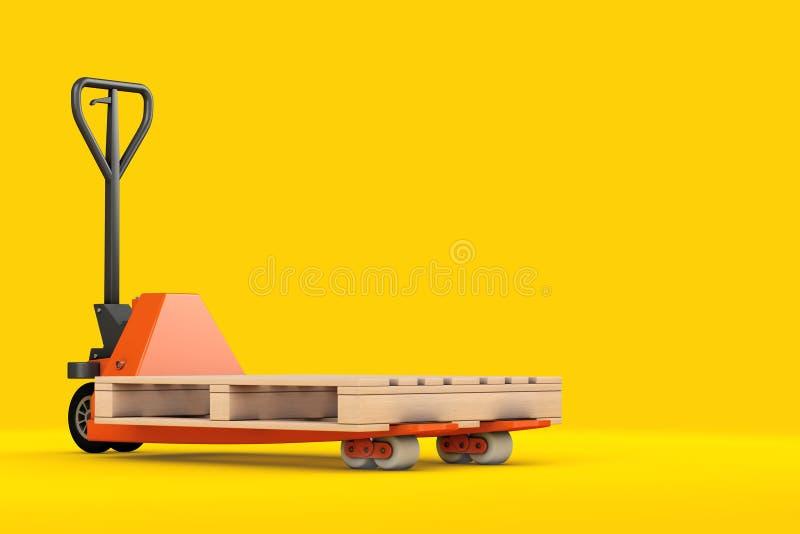 Hand Pallet Truck with Empty Wooden Pallet. 3d Rendering stock image
