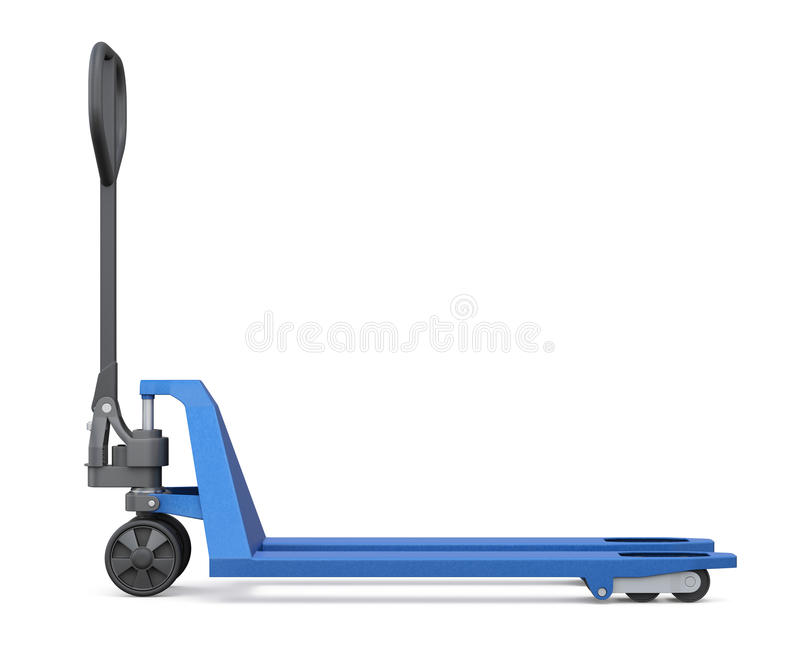 Hand pallet truck on white background. Side view. 3d re stock illustration