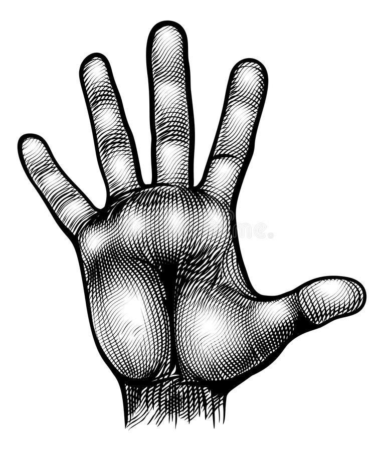 Hand Palm Body Part Vinatge Woodcut stock illustration