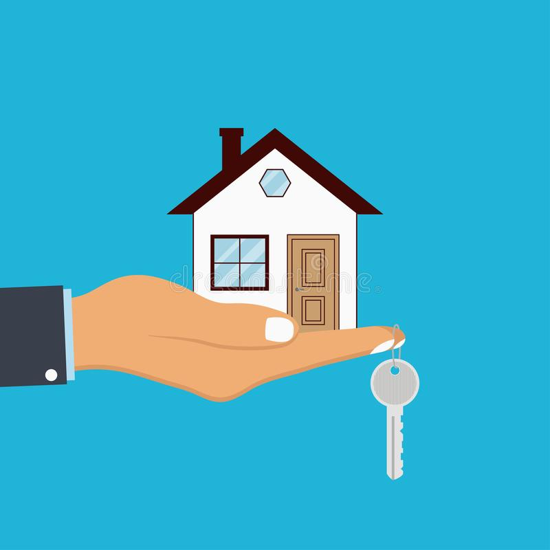 Free Hand Palm Holds House And Key On Finger. Concept For Home Agent, Sale And Rent Of A House. Vector. Stock Photos - 108276723