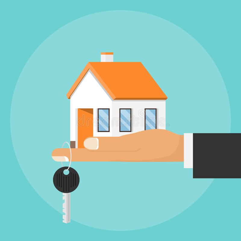 Free Hand Palm Holds House And Key On Finger. Hand Holding House And Key. Concept For Home Agent, Sale And Rent Of A House Royalty Free Stock Image - 167027836