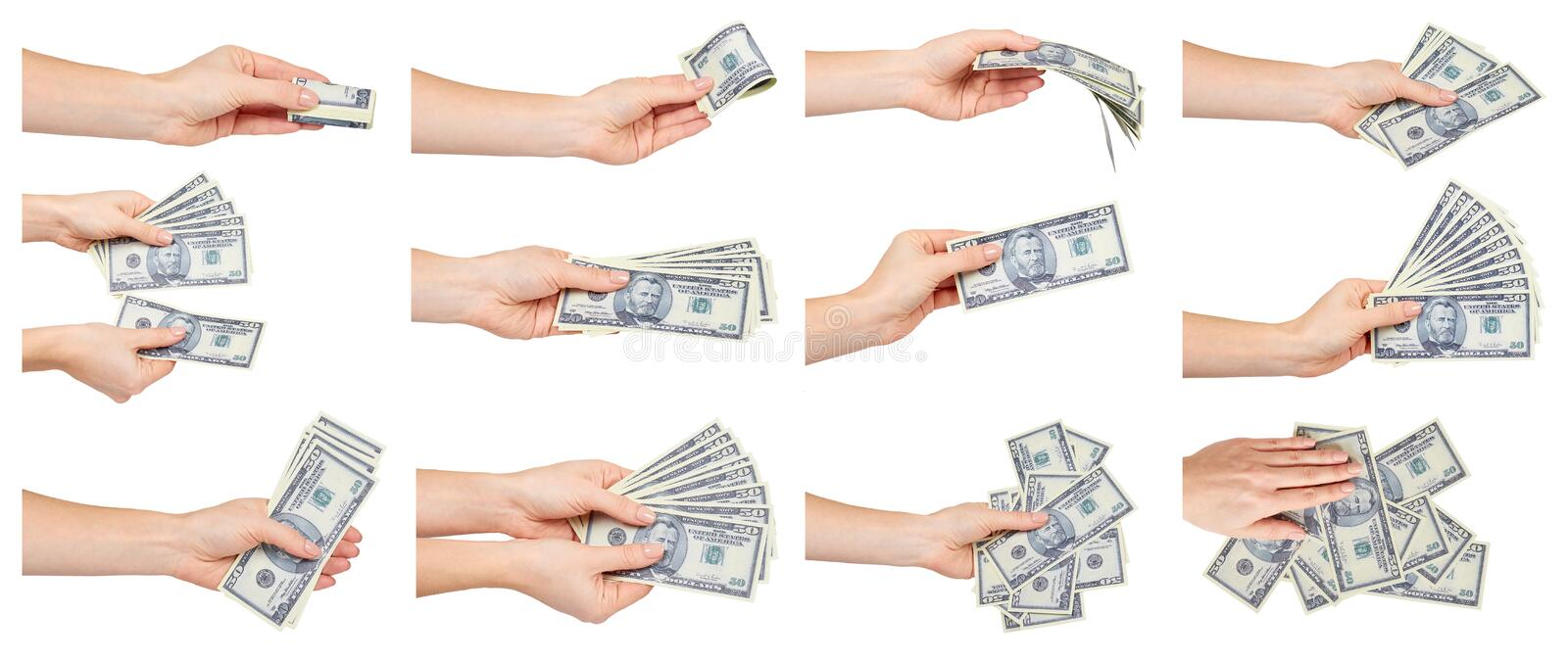 Hand with paper US dollars, American cash, set and collection stock image