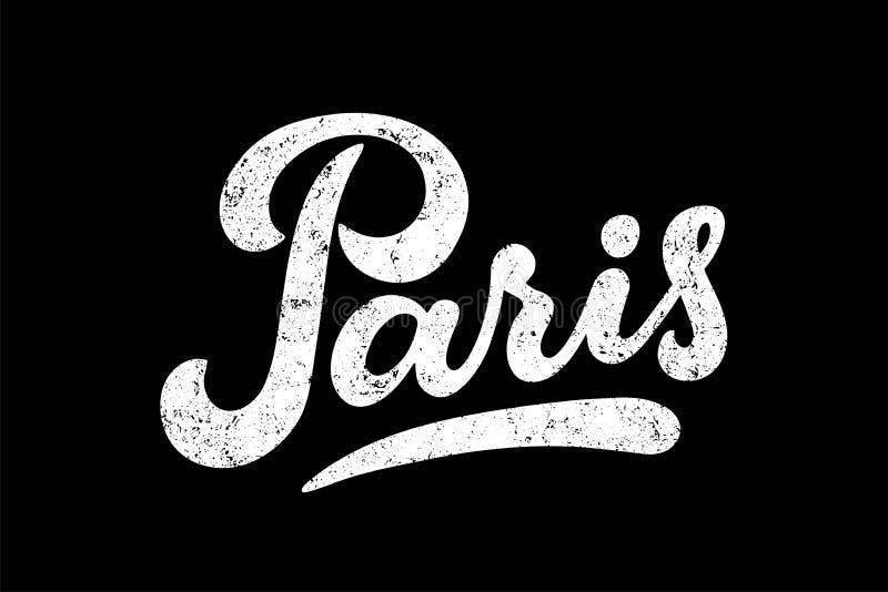 Hand Paris, Frankreich, die Vektorillustration mit Beschaffenheit beschriftet vektor abbildung