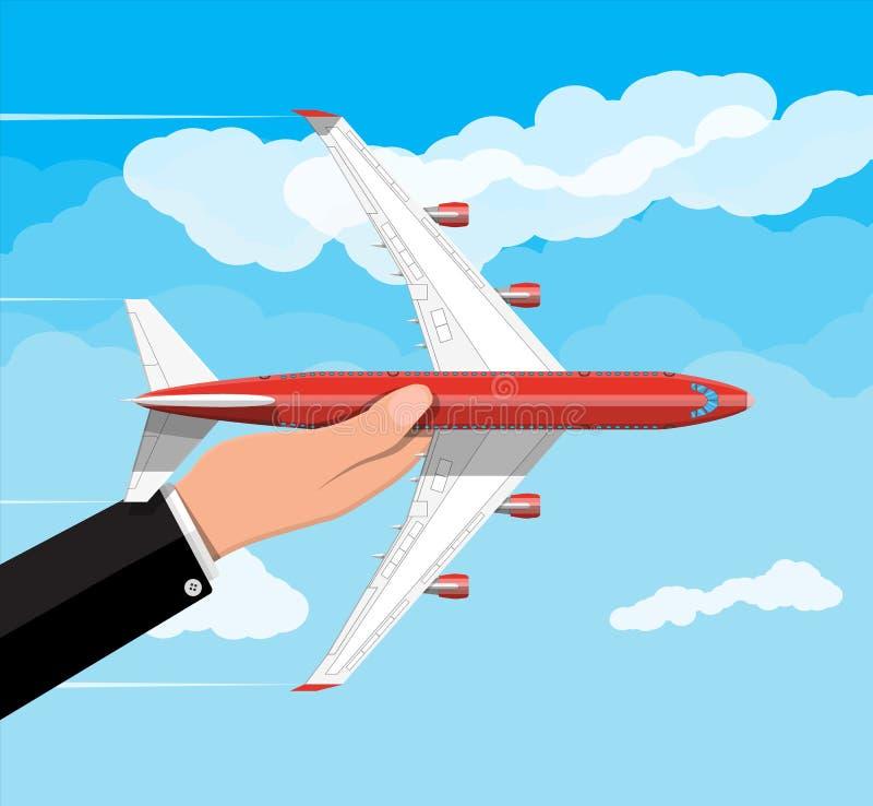 In hand passagier of commerciële straal royalty-vrije illustratie