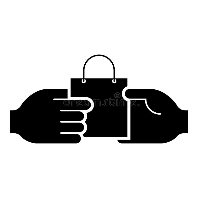Hand passes the package to the other hand Hand pass bag other hand Concept commerce Idea trade Market subject Marketing icon. Black color vector illustration vector illustration