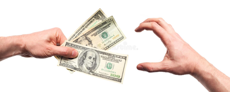 Hand passing dollars. Isolated on white background stock image