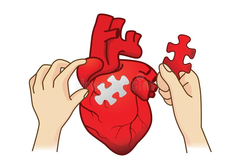 Hand paste the last piece to complete the human heart jigsaw. vector illustration