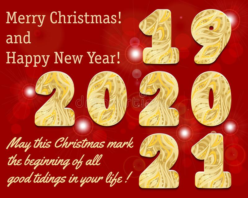 2020, 2021 hand patterned lettering. Golden numbers with gold ornament on red background with bokeh and flare. Happy New Year card vector illustration