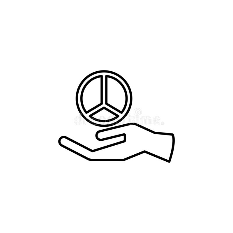 hand and peace sign icon. Element of peace icon for mobile concept and web apps. Thin line hand and peace sign icon can be used fo royalty free illustration