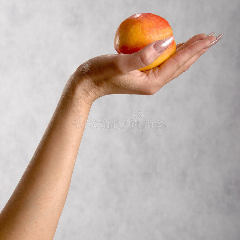 Hand with a peach royalty free stock photo
