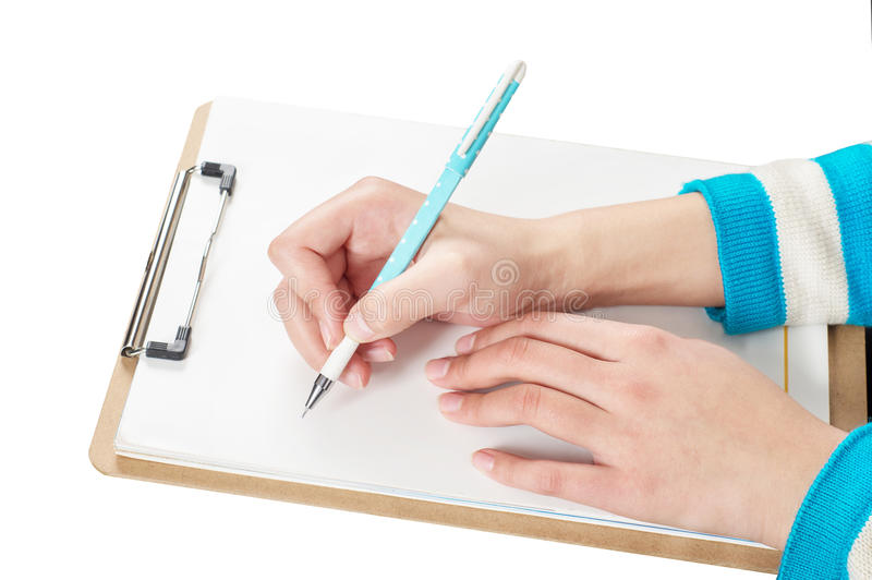 Download Hand and pen stock image. Image of blank, woman, learning - 29021899