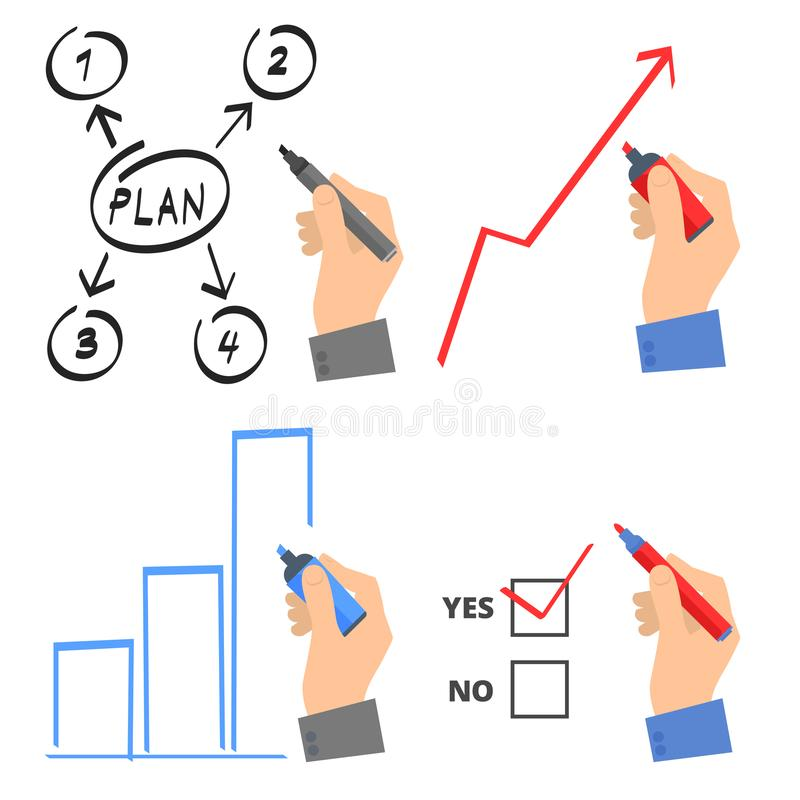 Hand with a pen drawing growth arrow and business plan. vector illustration