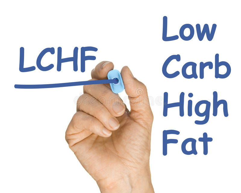 Hand with Pen Drawing LFHC Low Fat High Carb royalty free stock photo
