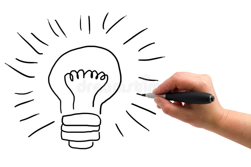 The hand with a pen drawing lightbulb. Illustration of the hand with a pen drawing lightbulb on the white paper background stock photo