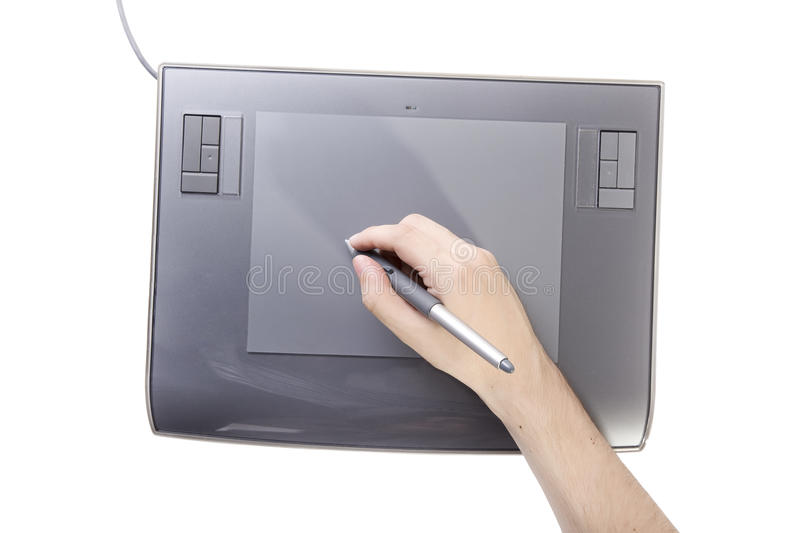 Hand with pen in graphic table stock images