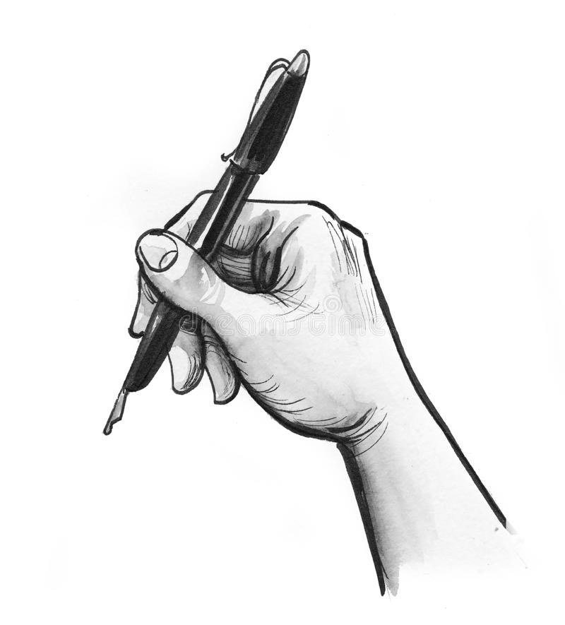 Hand and pen stock illustration