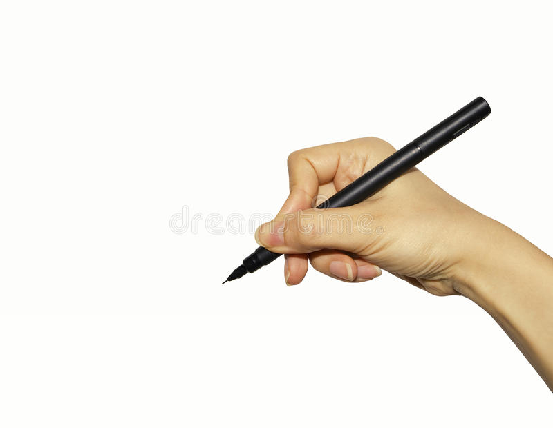 Hand with pen isolated on white royalty free stock photos