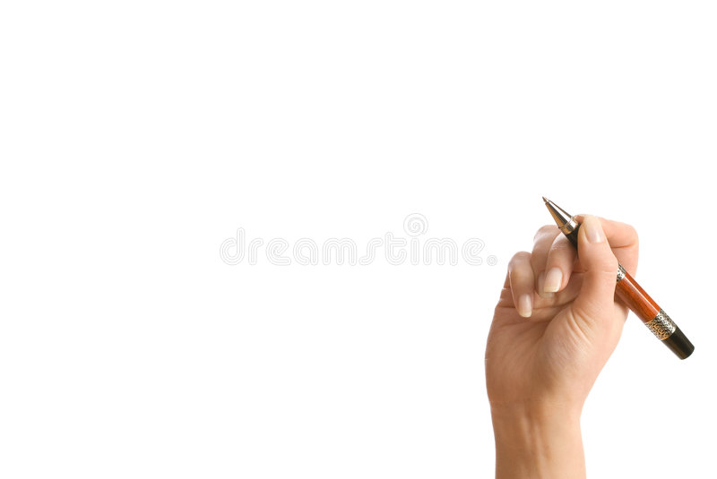 Hand and a pen isolated on white