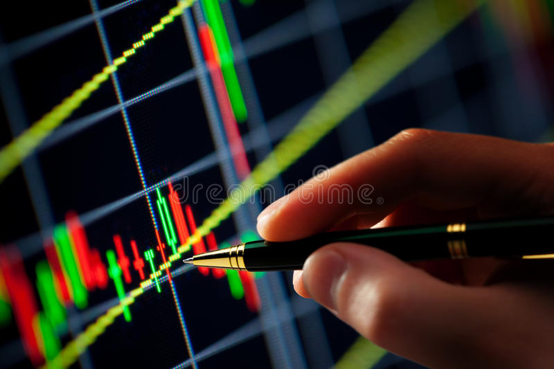 Hand and pen pointer, chart stock images
