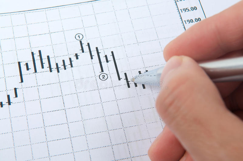 Hand with pen on stock chart. Hand with pen pointing on stock chart royalty free stock images