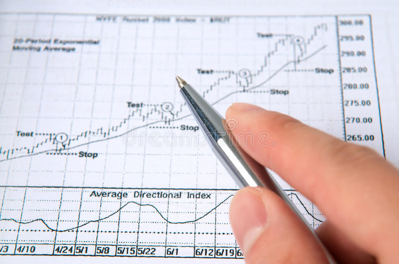 Hand with pen with stock chart. Hand holding pen on stock chart stock photography