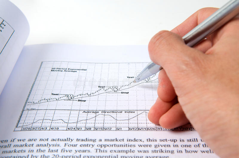 Hand with pen on stock chart. Hand with pen pointing on stock chart stock images