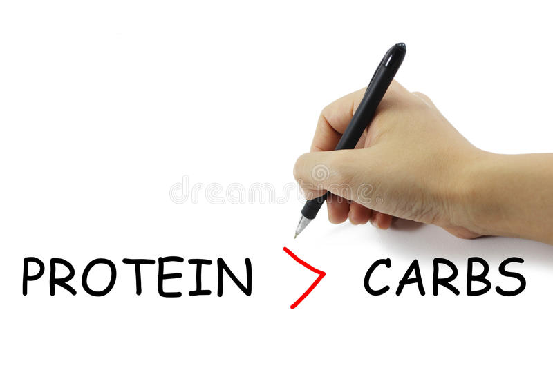 Hand with pen writing fitness concept protien more than carbohydrate on pure white background stock photos