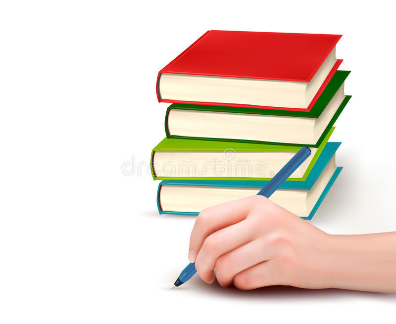 Hand With Pen Writing On Paper And Stack Of Books Royalty Free Stock Images