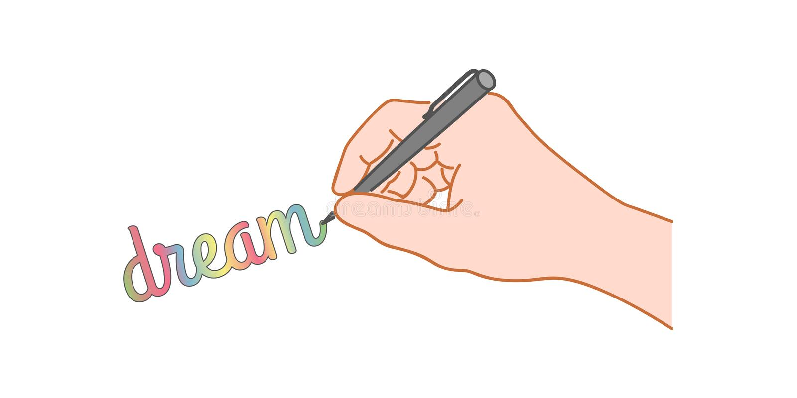 Hand with a pen writing word stock illustration