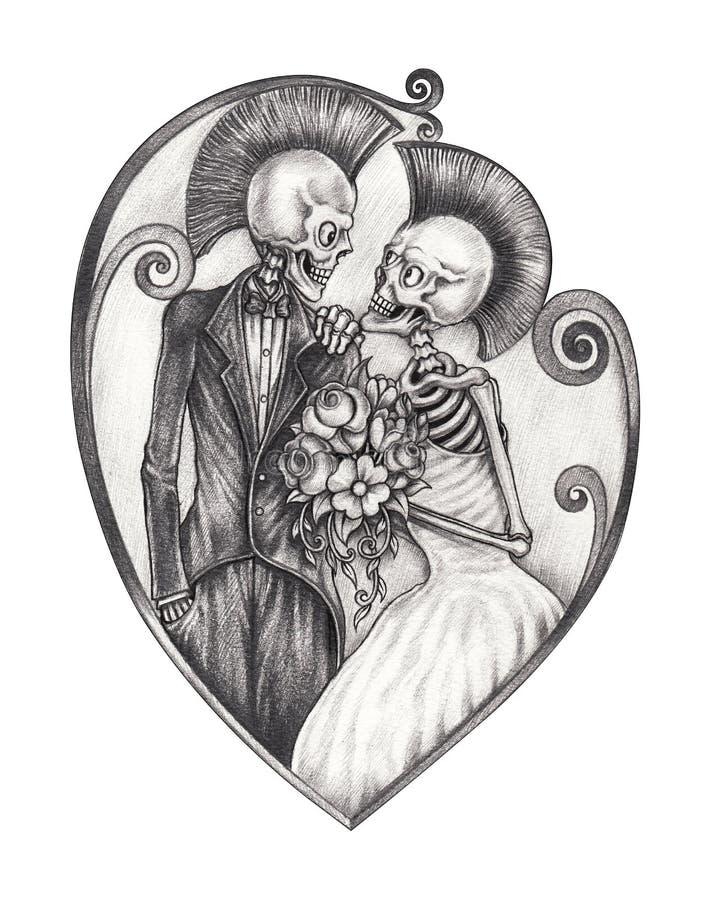 Art wedding punk skull day of the dead. royalty free illustration