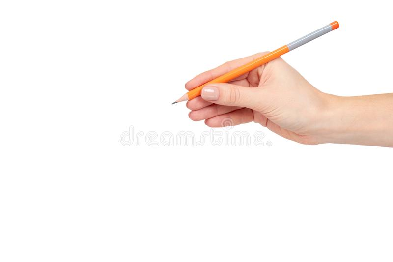 Hand with pencil, drawing or writinng gesture. Isolated on white background. Copy space template arm art business closeup color concepts creativity design stock images