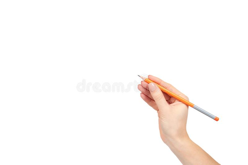 Hand with pencil, drawing or writinng gesture. Isolated on white background. Copy space template, arm, art, business, closeup, color, concepts, creativity royalty free stock photos