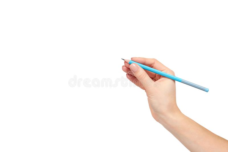 Hand with pencil, drawing or writinng gesture. Isolated on white background. Copy space template, arm, art, business, closeup, color, concepts, creativity stock photography