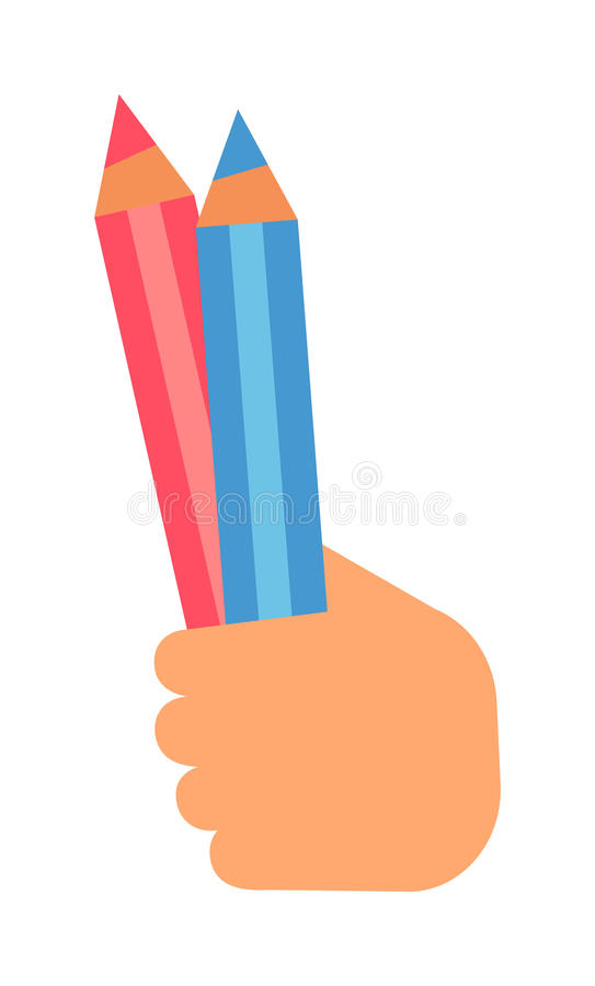 Hand with pencil vector illustration. People hand holding pencil on white background. Human education hand holding sketch pencil vector symbol. People design vector illustration