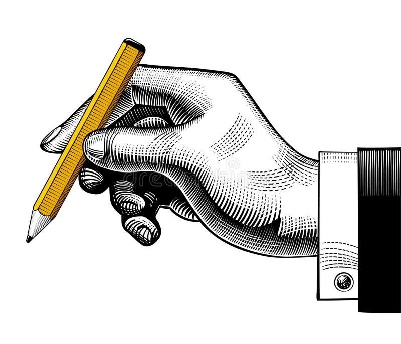 Hand with a pencil vector illustration