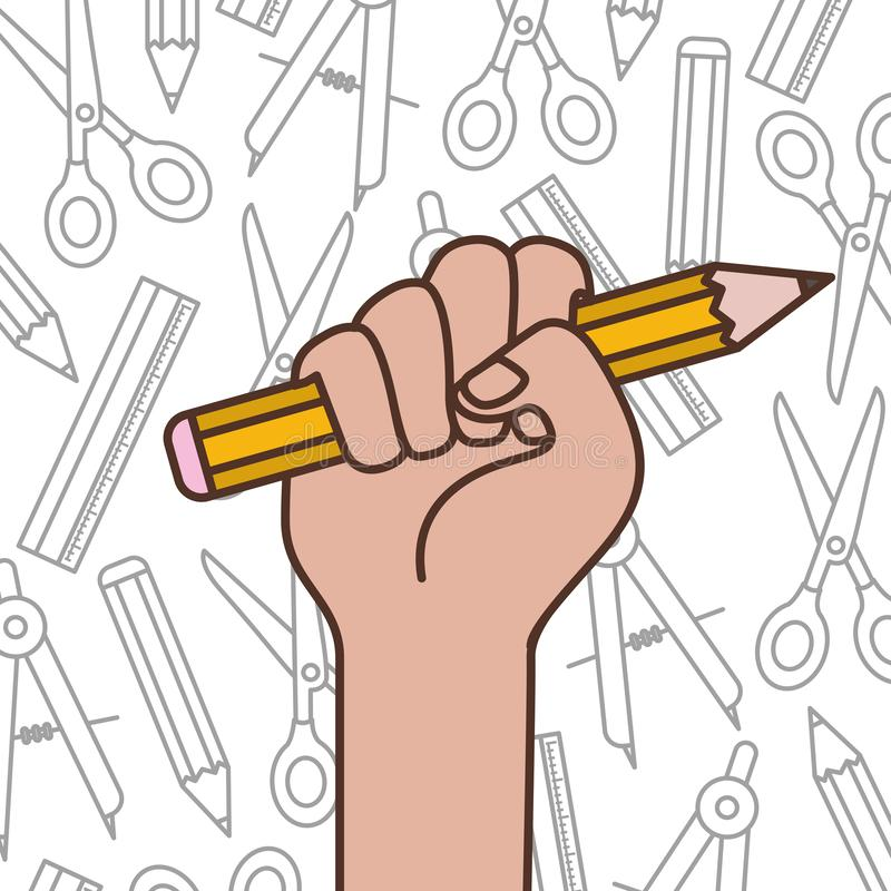 Hand with pencil write isolated icon royalty free illustration