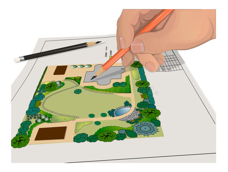 Hand, Pencils, general plan stock illustration
