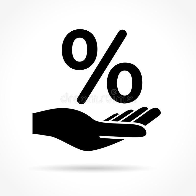 Hand and percentage icon. Illustration of hand and percentage icon on white background vector illustration