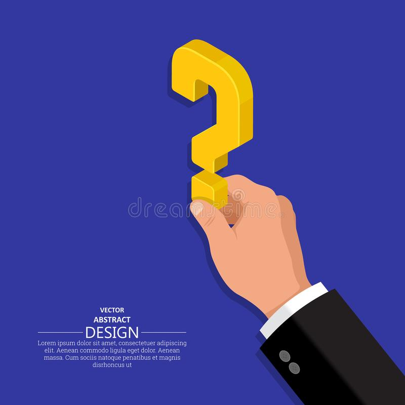 The hand of the person. Holds a question mark.Isometric illustration.The concept of a raising of a question in business.Difficulty, obstacle, solution at the royalty free illustration