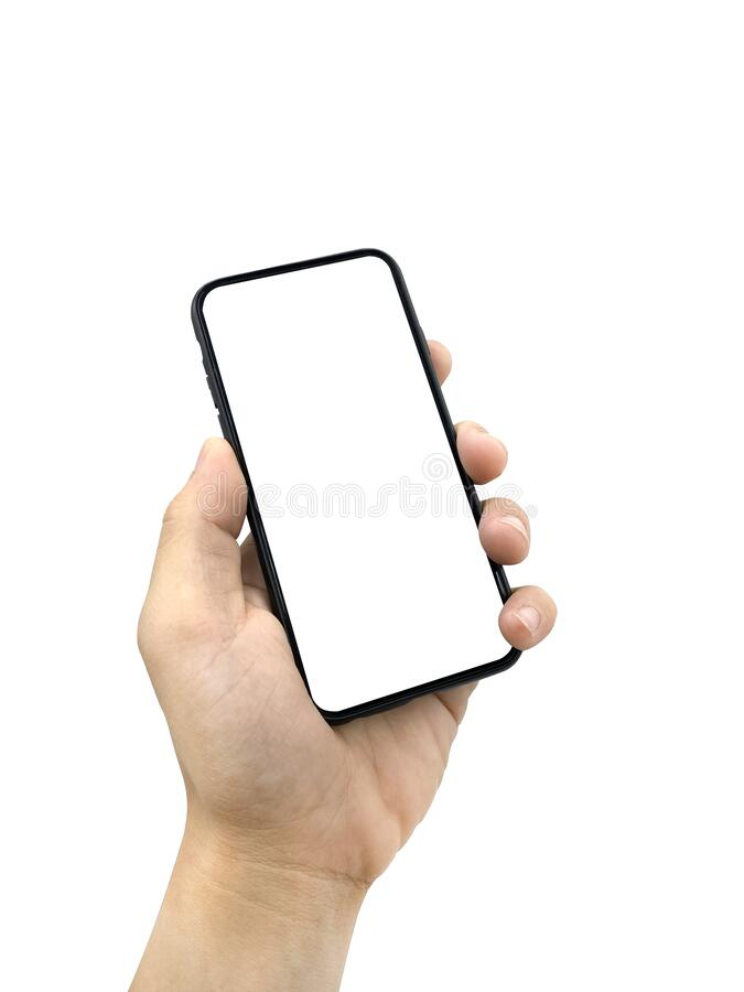 Hand of a person holding a black smartphone with copy space. Isolated on white background with clipping path royalty free stock images