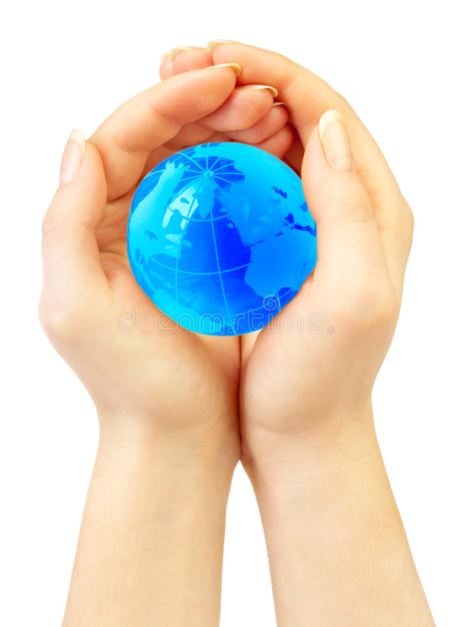 Hand of the person holds globe stock photo